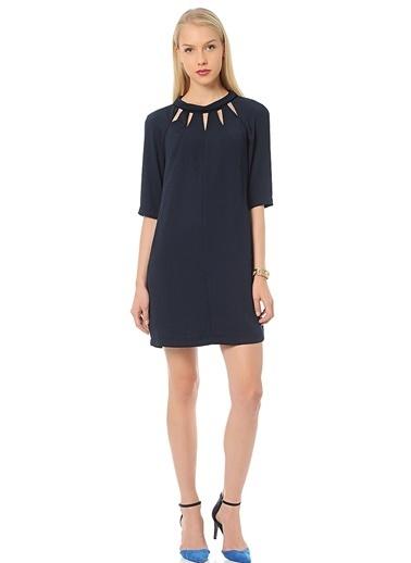 Random Yarım Kollu Mini Elbise Lacivert